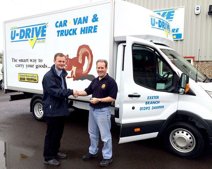U-Drive Ltd: Jim Davis from U-Drive Ltd handing over a Luton van to Trevor Branton from Dartmouth Rotary Club